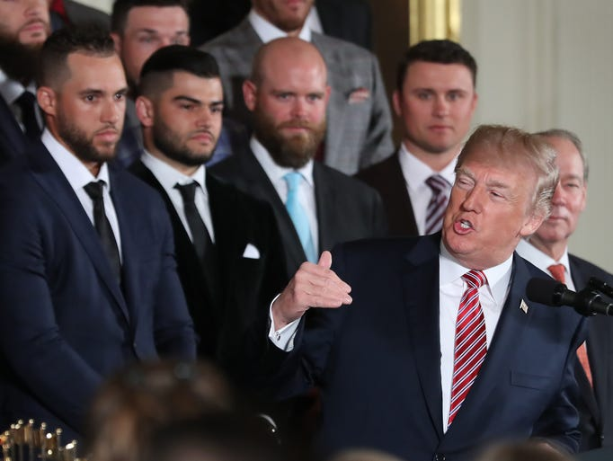President Donald Trump speaks at a ceremony honoring