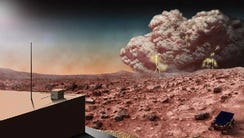 An artist's conception of a Martian dust storm, which