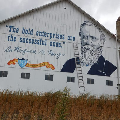 Mural of Rutherford B. Hayes on Fangboner Road barn