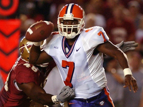 Shanks alum and Clemson quarterback Willie Simmons looks for an open receiver while being pressured by FSU's Alonzo Jackson in a game Oct. 3, 2002 in Tallahassee. Simmons is now the head coach at Prairie View A&M.