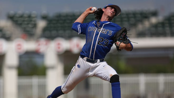 Canterbury junior Sam Keating pitches during the Class 3A semifinal at JetBlue Park.