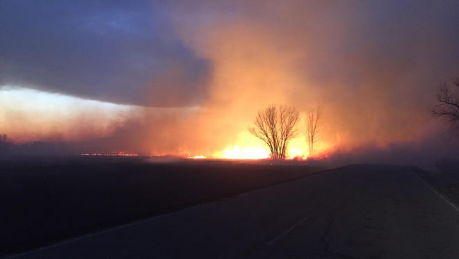 A fire burns on the Fort Belknap Indian Reservation on Wednesday evening.