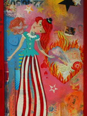 """In """"Stilt Walker,"""" Nina Cunningham creates a circuslike at atmosphere with her combinations of paint and colorful collage."""