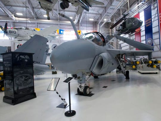 A-6 Intruder on display in Hangar Bay One at the National Naval Aviation Museum, is one of many Vietnam area aircraft at the museum.