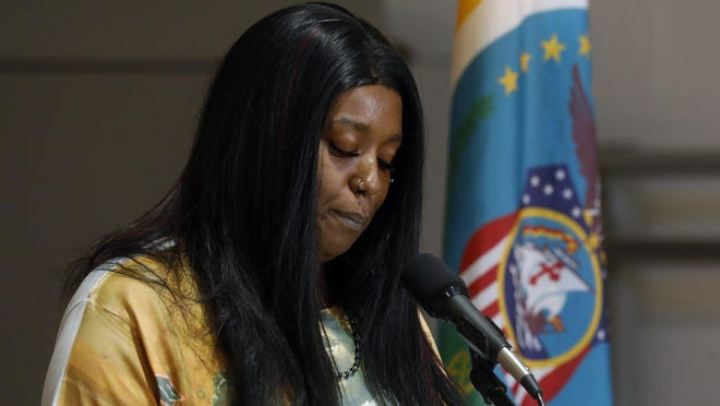 Keeandra Brown, whose son Brendon Brown, 18, was a murder victim, talks at a news conference at the Reeb Center Tuesday along with Mayor Andrew J. Ginther and Columbus Police Chief Thomas Quinlan. The officials discussed city initiatives being taken to curb the murder rate.