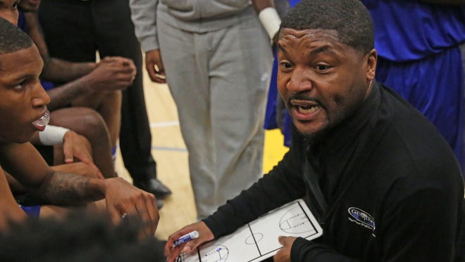 Destiny coach Branden Joesph urges his team on during a timeout in a game this season.
