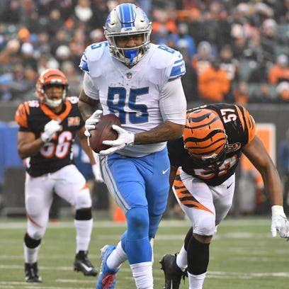 Lions tight end Eric Ebron had 53 catches for 574 yards