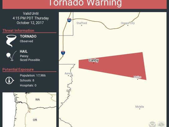 The National Weather Service Portland issued a tornado