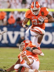 Clemson running back Andre Ellington plays Virginia Tech in the ACC Championship game with Virginia Tech at Bank of America Stadium in Charlotte, N.C. in December 2011.