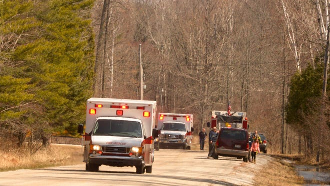 Manitowoc emergency personnel responding to an accident involving a field trip students injured by a falling tree at Woodland Dunes State Natural area off of Goodwin Road in Manitowoc on Wednesday. Sue Pischke/HTR Media. Photo taken on Wednesday, April 1, 2015.