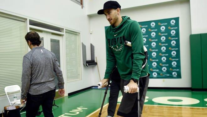 Nov 2, 2017; Boston, MA, USA; Boston Celtics injured forward Gordon Hayward leaves the podium after addressing the media at Celtics Practice Facility.
