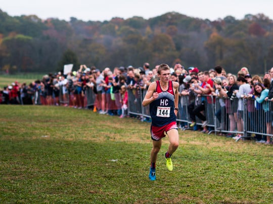 Henry County's Titus Winders finishes first in his race at the TSSAA State Meet at Percy Warner Steeplechase Course in Nashville on Nov. 4, 2017. His brother, Silas, placed second.