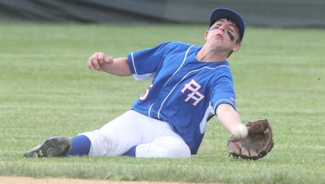 Pearl River's Kevin Scrima makes a catch in an 11-4 win in a Class A baseball outbracket game at Tappan Zee May 20, 2015.