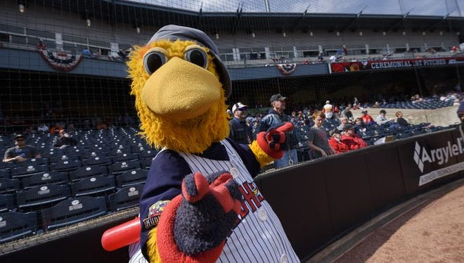 Muddy the Mud Hen mugs for the camera at a Toledo game earlier this season.