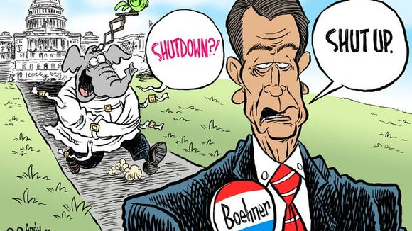 Pensacola News-Journal editorial cartoonist Andy Marlette shows House Speaker John Boehner, R-Ohio, telling the crazy wing of the GOP to shut up.