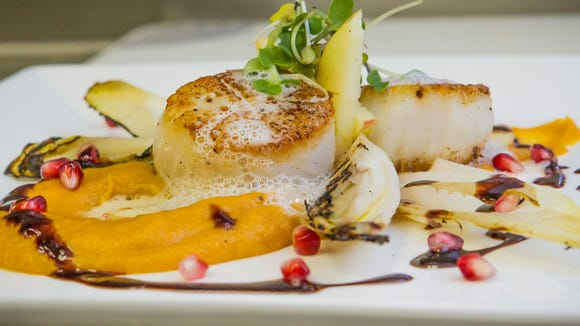 Krazy Kat's chef Joe Johnson will offer herb gremolata crusted diver scallops with cider sweet potato puree, grilled endive and a pomegranate molasses foie gras espuma.