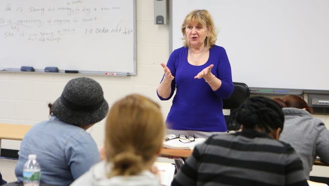 Pat Salerno teaches a level three ESL class at the Rockland BOCES Educational Resource Center in Nyack.
