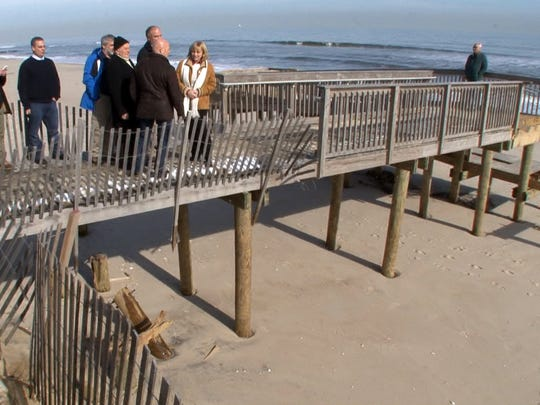 Toms River Mayor Thomas Kelaher, Lt Governor Kim Guadagno,DEP commissioner Bob Martin and Congressman Tom MacArthur survey damage done to the coastline from the weekend Nor'easter in Ortley Beach, NJ, of Monday, January 25, 2016.