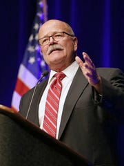 Democratic candidate for governor John Gregg addresses the crowd following his nomination during the 2016 Indiana Democratic state convention at the Indiana Convention Center, Indianapolis, Saturday, June 18, 2016.