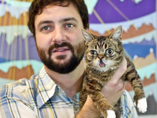 Wednesday October 26th, 2012,  Mike Bridavsky, owner of Russian Recording LLC in Bloomington adopted Lil Bub, a special needs cat that has now become an internet sensation thanks to her dwarfism, polydactylism etc. which create a unique looking feline. Lil Bub lives at home with Bridavsky away from his other cats at who live at his recording studio.. (Michelle Pemberton/The Star)