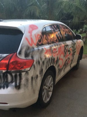 A Yigo homeowner woke up to find this vehicle, a truck and his home vandalized.