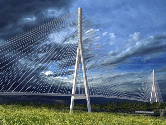 Artist's conceptural image of a cable-stayed bridge.