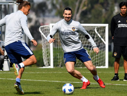 Zlatan Ibrahimovic practices with the Galaxy for the