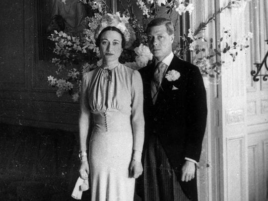 Duke and Duchess of Windsor pose after their wedding at the Chateau de Cande near Tours, in France in 1937.