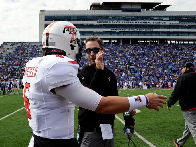 Texas Tech: This might be the most improbable unbeaten in major college football, considering the No. 9 Red Raiders have done it largely with true freshman quarterbacks in Baker Mayfield (a walk-on) and then with Davis Webb. Texas Tech's 7-0 record has been built on a pillowy soft schedule but it's backloaded; starting Saturday at No. 12 Oklahoma, Texas Tech faces the other four contenders in a wide-open league race.