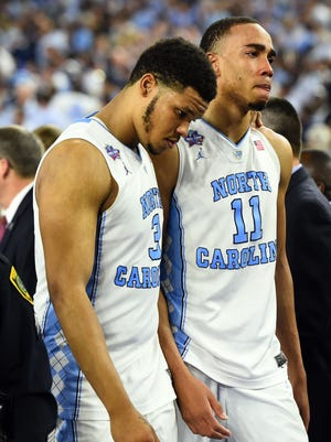 North Carolina's Kennedy Meeks and Brice Johnson after the Tar Heels lost to Villanova in the title game.