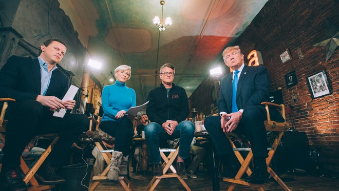 """The hosts of """"Morning Joe"""" with Republican presidential candidate Donald Trump."""