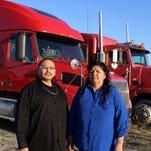 Husband and wife Bear Gallineaux, left, and Delphine Bird, owner-operators of Bear Traxx Truck Training, will be instructors in a Great Falls College MSU program that will train area residents skills needed to get commercial driver licenses.