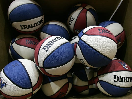 A box of ABA basketballs, similar to ones used during