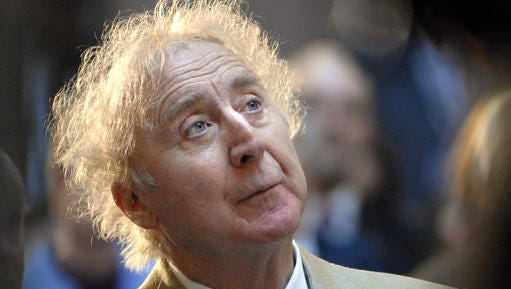 In this April 9, 2008 file photo, actor Gene Wilder listens as he is introduced to receive the Governor's Awards for Excellence in Culture and Tourism at the Legislative Office Building in Hartford, Conn.