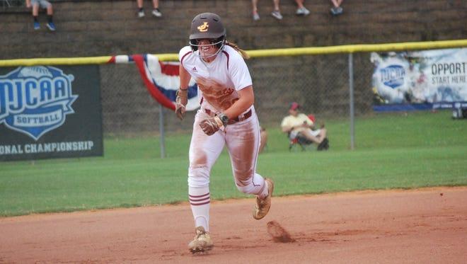 Cori McCrary (26) runs for third base Saturday morning vs. Phoenix College (Arizona).