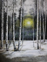 "An award winning pencil drawing ""Sunrise Birches"" by"