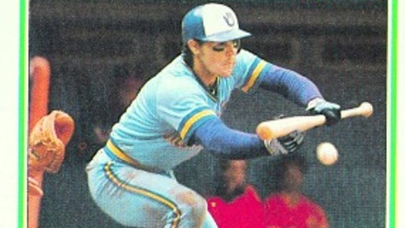 Ned Yost's 1983 Topps baseball card. He's always loved bunting, apparently.