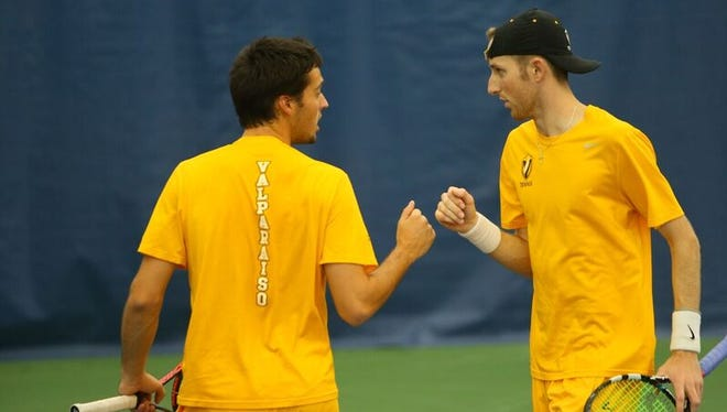 The Valparaiso doubles team of Jeffrey Schorsch, left, and Carmel's Charlie Emhardt reached the national final.