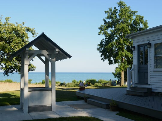 The view of Lake Huron from the ground of Port Sanilac Lighthouse.
