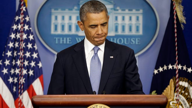 President Obama speaks about the looming shutdown from the White House briefing room on Sept. 30, 2013.