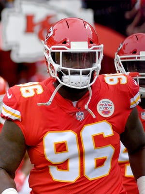 Kansas City Chiefs nose tackle Bennie Logan (96) runs onto the field before the game against the Philadelphia Eagles on Sept. 17 at Arrowhead Stadium.