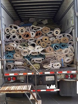Carpeting awaits recycling. Starting Wednesday, residents and businesses can recycle carpet, separate from garbage, at the Del Norte Regional Recycling and Transfer Station in Oxnard.