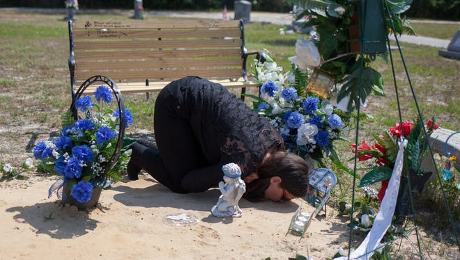 Mary Wilsey kneels to kiss the ground during one of her daily visits to her son's grave. Her son, a schizophrenic, was killed during a confrontation with police.