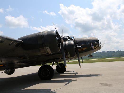 The Liberty Belle - aB-17 bomber painted to look like thefamousMemphis Belle - landed at Lunken Airport on Monday.