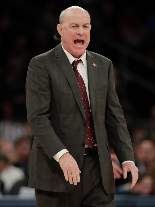 Mississippi State coach Ben Howland reacts during the second half of the team's NCAA college basketball game against Penn State during the semifinals of the NIT, Tuesday, March 27, 2018, in New York. Penn State won 75-60. (AP Photo/Julie Jacobson)