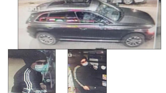 State police have provided these images of a suspect and vehicle they say are involved in a July 4 break-in and theft from a state police cruiser in the Danielson-Killingly area.