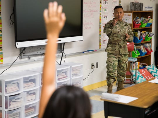 Col. Allan Lanceta, commander of the Corpus Christi Army Depot, talks to a fifth grade class at Kolda Elementary School about leadership on Friday, April 6, 2018.