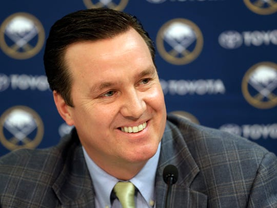 Buffalo Sabres President Ted Black speaks during an end-of-season NHL hockey news conference, Monday, April 29, 2013, in Buffalo.