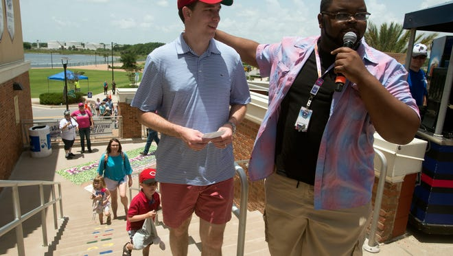 Rob Norton is introduced as the Pensacola Blue Wahoos 2 Millionth fan Sunday, June 17, 2018 at Blue Wahoos Stadium.