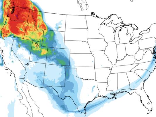 NOAA map showing smoke forecast